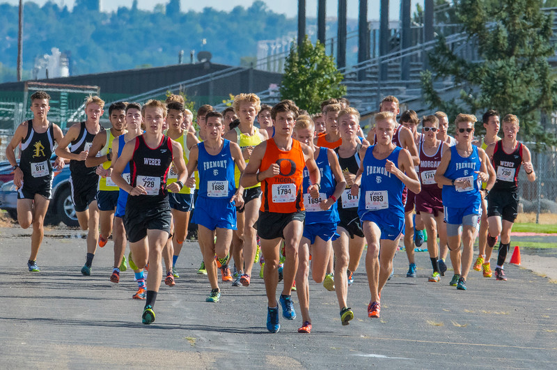 Boy's Varsity 5K takes place at the Weber County Fairgrounds during in Ogden on Wednesday September 13, 2017.