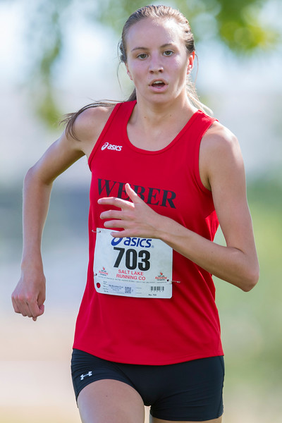 Weber's McKenna Lee (703) finish 1st during Girl's Varsity 5K at  the Weber City and County track meet in Ogden on Wednesday September 13, 2017.