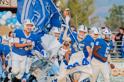 Fremont Silverwolves break the banner and take the field to play against Davis High School on Friday, September 15, 2017 at Fremont High School In Plain City.