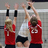 Caitlyn Schnur of Vermilion spikes the ball over Carleen Ellerbruch and Sydney Lapointe of Lutheran West. Randy Meyers -- The Morning Journal
