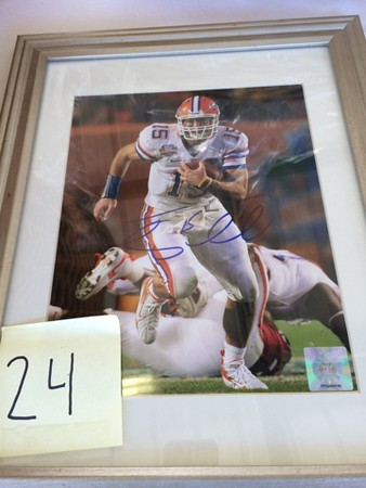 Mark Podolski - The News-Herald<br /> An autographed Tim Tebow photo up for auction at the Bret Poklar Benefit Sept. 24 at Lost Nation Golf Course.