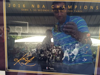 Mark Podolski - The News-Herald<br /> An autographed Kyrie Irving photo up for auction at the Bret Poklar Benefit Sept. 24 at Lost Nation Golf Course.