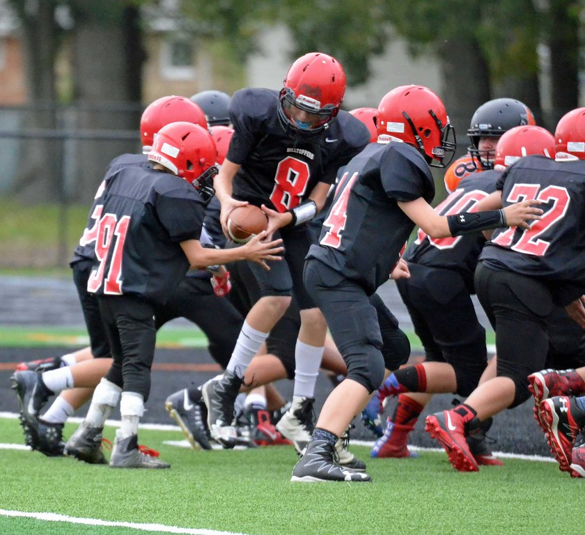 . Paul DiCicco - The News-Herald Chardon seventh-grader Phillip Colucci, who suffers from cerebral palsy, scored a touchdown in his team\'s game against Willowick Middle School on Sept. 27 in Eastlake.