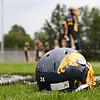 Tim Phillis - The News-Herald<br /> A logo and helmet on Euclid's field honoring Andre Jackson.