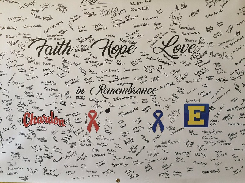 John Kampf - The News-Herald<br /> A poster signed and sent by the Chardon school district to Euclid in remembrance of Andre Jackson.