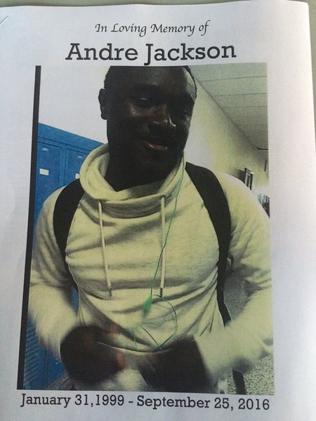 John Kampf - The News-Herald<br /> The cover of Euclid's program for the game against Strongsville remembers Andre Jackson.