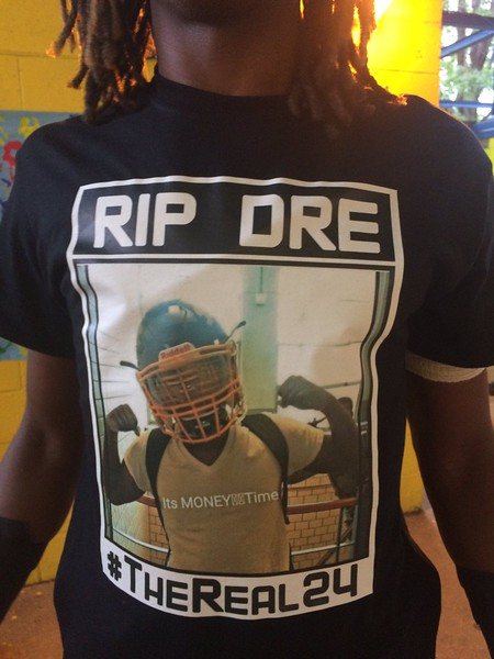 John Kampf - The News-Herald<br /> Euclid's Isiah Claytor wearing one of the t-shirts to be worn by the Panthers against Strongsville in honor of Andre Jackson.