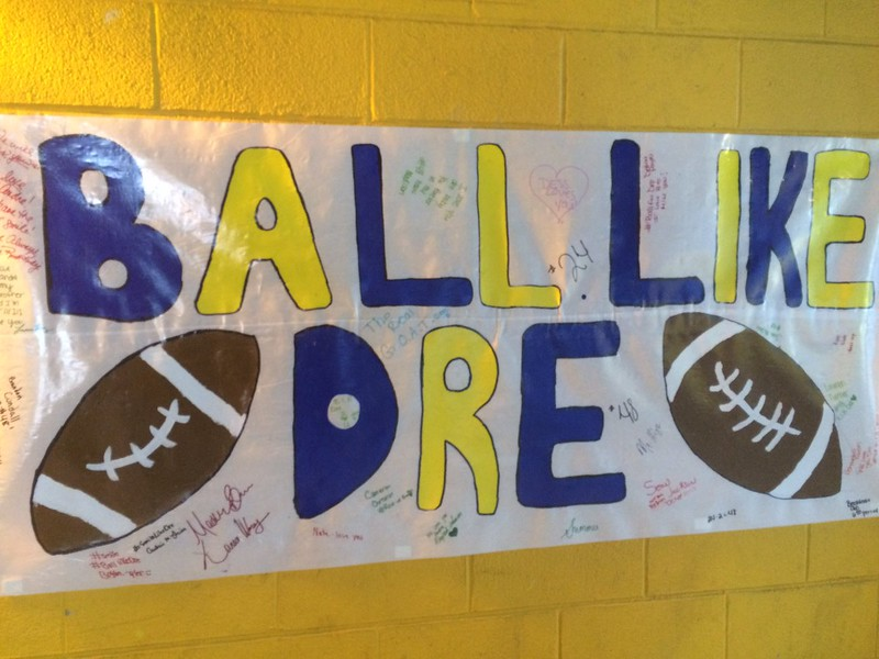 John Kampf - The News-Herald<br /> A banner made by Euclid students in honor of classmate Andre Jackson.