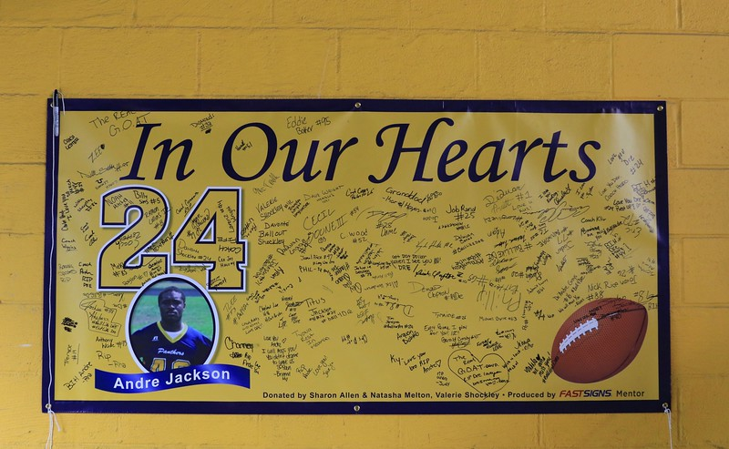 Tim Phillis - The News-Herald<br /> A sign honoring the late Andre Jackson.