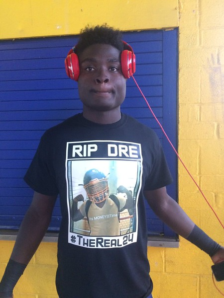 John Kampf - The News-Herald<br /> Euclid's Keyshawn Carroll shows the shirt he'll wear in honor of Andre Jackson.