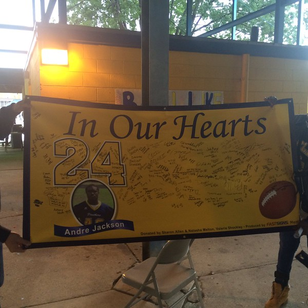 John Kampf - The News-Herald<br /> The Euclid football team signed a banner in Andre Jackson's memory.