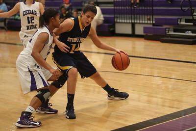 Stony Point's Miranda Simpson backs down on a Cedar Ridge defender on Jan. 29