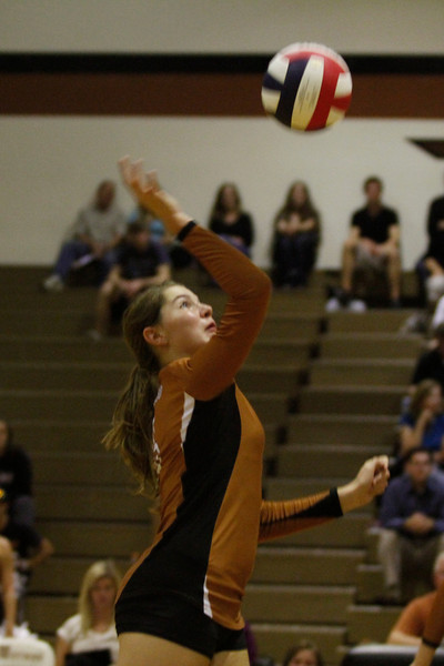 Westwood's Sarah Aflerbaugh hits the ball against Pflugerville on Tuesday at Westwood High School.