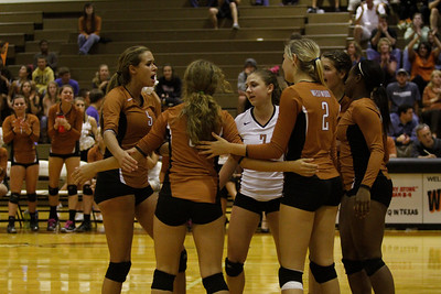 Westwood celebrates after a point against Pflugerville on Tuesday at Westwood High School.