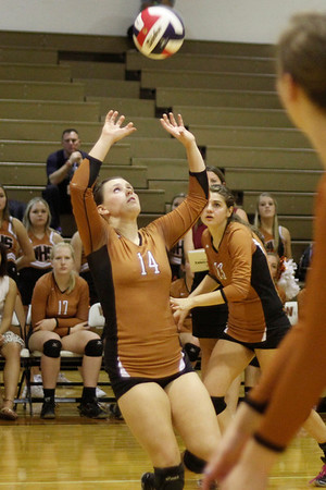 Westwood's Nikkie Welch sets against Pflugerville on Tuesday at Westwood High School.