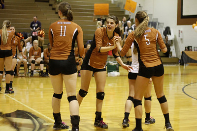 Westwood celebrates a point against Pflugerville on Tuesday at Westwood High School.