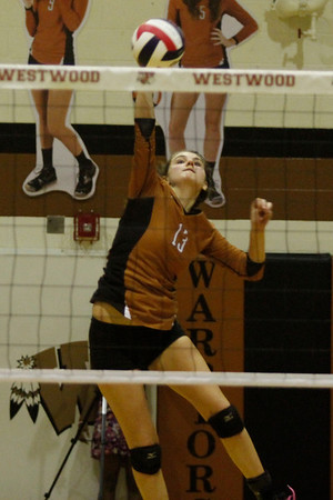 Westwood's Mattison Raiford serves against Pflugerville on Tuesday at Westwood High School.