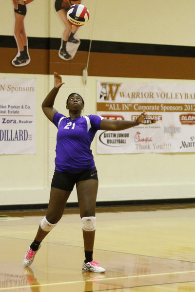 Pflugerville's Raven Swain serves against Westwood on Tuesday at Westwood High School.