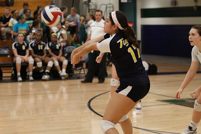 Stony Point's Andrea Gallegos digs the ball against McNeil on Tuesday at McNeil High School.