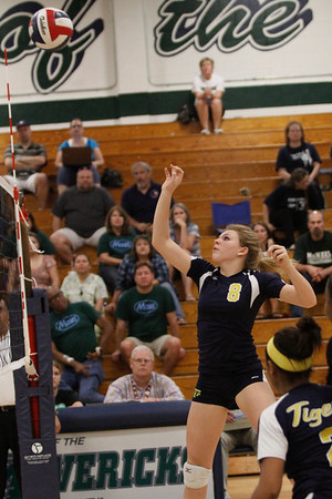 Stony Point's McKinsey Kuehn bumps the ball over to net against McNeil on Tuesday at McNeil High School.