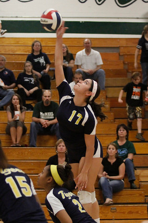 Stony Point's Andrea Gallegos goes for a kill against McNeil on Tuesday at McNeil High School.