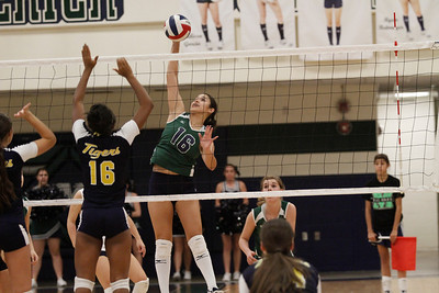 McNeil's Katie Silguero goes for the kill against Stony Point on Tuesday at McNeil High School.