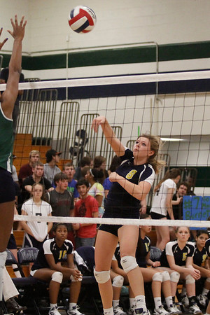 Stony Point's McKinsey Kuehn goes for a kill over to net against McNeil on Tuesday at McNeil High School.