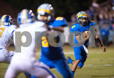 Jacksonville's Cameron High carries the ball Friday night at the Tomato Bowl.  (Sarah A. Miller/Tyler Morning Telegraph)