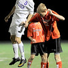 Boulder's Mason Doulliard (left) heads the ball away from Fairview's Jack Mayfield (right) during their soccer game at Recht Field in Boulder, Colorado October 4, 2011.  CAMERA/Mark Leffingwell