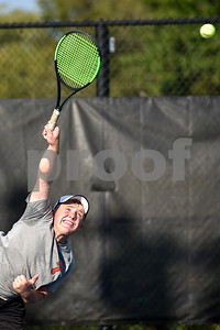 Robert E. Lee's Nathan Drain serves during a high school district tennis match at Tyler Junior College in Tyler, Texas, on Wednesday, Oct. 4, 2017. (Chelsea Purgahn/Tyler Morning Telegraph)