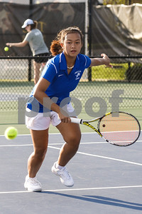 John Tyler's Rafika Damayanthi runs for the ball during a high school district tennis match at Tyler Junior College in Tyler, Texas, on Wednesday, Oct. 4, 2017. (Chelsea Purgahn/Tyler Morning Telegraph)