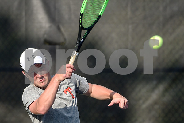 Robert E. Lee's Nathan Drain hits the ball during a high school district tennis match at Tyler Junior College in Tyler, Texas, on Wednesday, Oct. 4, 2017. (Chelsea Purgahn/Tyler Morning Telegraph)