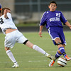Boulder's Miles Chow (right) steals the ball from Monarch's Josh Roeber (left) during their soccer game at Monarch High School in Louisville, Colorado October 11, 2011.  CAMERA/Mark Leffingwell