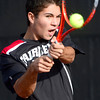 Fairview's Eli Winegardner backhands the ball while playing Cherry Creeks' Dan Steinhauser during their 5A 2012 Boys' State Tennis Quarterfinal match in Denver, Colorado October 11, 2012. BOULDER DAILY CAMERA/ Mark Leffingwell