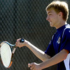 Legacy's Doubles player Mike Rosencrans returns the ball to Douglas County's Varun Katamaneni and Reese Watt during their 5A 2012 Boys' State Tennis Quarterfinal match in Denver, Colorado October 11, 2012. BOULDER DAILY CAMERA/ Mark Leffingwell