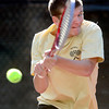 Monarch's Danny Wright returns the the ball while playing Boulder's Levi Chandler during their 5A 2012 Boys' State Tennis Quarterfinal match in Denver, Colorado October 11, 2012. BOULDER DAILY CAMERA/ Mark Leffingwell