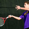 Boulder's Galen Arney returns a serve while playing Fort Collins' Sam Buffington during their 5A 2012 Boys' State Tennis Quarterfinal match in Denver, Colorado October 11, 2012. BOULDER DAILY CAMERA/ Mark Leffingwell