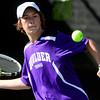 Boulder's Doubles player Cuttor Esson returns the the ball to Grand Junction's Jake Filutze and Tate Hegstrom during their 5A 2012 Boys' State Tennis Quarterfinal match in Denver, Colorado October 11, 2012. BOULDER DAILY CAMERA/ Mark Leffingwell