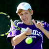 Boulder's Doubles player Ethan Anderson returns the the ball to Grand Junction's Jake Filutze and Tate Hegstrom during their 5A 2012 Boys' State Tennis Quarterfinal match in Denver, Colorado October 11, 2012. BOULDER DAILY CAMERA/ Mark Leffingwell