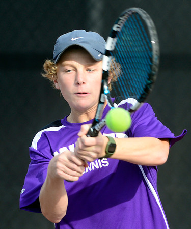 Boulder's Jackson Hawk returns the the ball while playing Fort Collins' Adam Berry during their 5A 2012 Boys' State Tennis Quarterfinal match in Denver, Colorado October 11, 2012. BOULDER DAILY CAMERA/ Mark Leffingwell