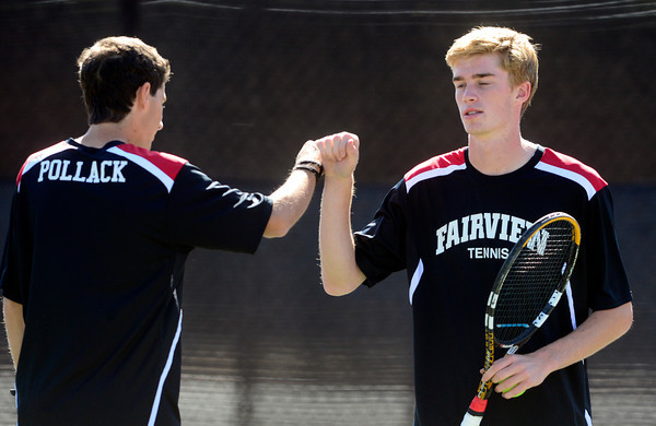 Fairview Doubles team Andrew Pollack (left) and Connor Corrigan (right) celebrate winning a point against Boulder's Connor Dawson and Cole Smith during their 5A 2012 Boys' State Tennis Quarterfinal match in Denver, Colorado October 11, 2012. BOULDER DAILY CAMERA/ Mark Leffingwell