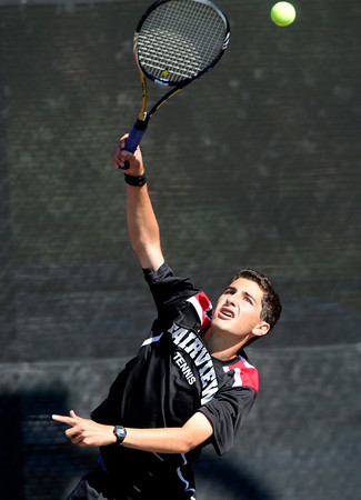 Fairview Doubles player Andrew Pollack serves the ball to Boulder's Connor Dawson and Cole Smith during their 5A 2012 Boys' State Tennis Quarterfinal match in Denver, Colorado October 11, 2012. BOULDER DAILY CAMERA/ Mark Leffingwell