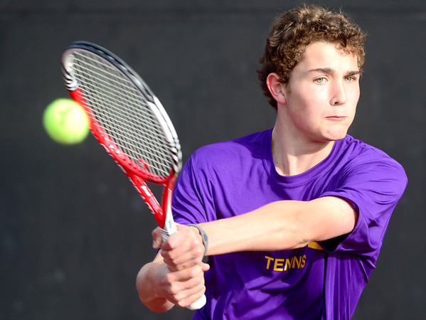 Boulder's Galen Arney backhands the ball while playing Fort Collins' Sam Buffington during their 5A 2012 Boys' State Tennis Quarterfinal match in Denver, Colorado October 11, 2012. BOULDER DAILY CAMERA/ Mark Leffingwell