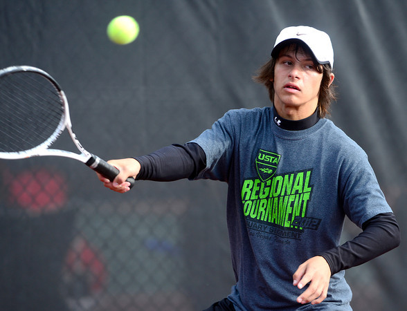 Loveland's Joey Diaz returns the ball while playing Chapperal's Eric Kwiatkowski during their 5A 2012 Boys' State Tennis Quarterfinal match in Denver, Colorado October 11, 2012. BOULDER DAILY CAMERA/ Mark Leffingwell
