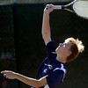 Legacy's Doubles player David Rosencrans serves to Douglas County's Varun Katamaneni and Reese Watt during their 5A 2012 Boys' State Tennis Quarterfinal match in Denver, Colorado October 11, 2012. BOULDER DAILY CAMERA/ Mark Leffingwell