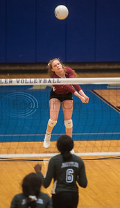 Whitehouse volleyball player Kate Idrogo  bumps the ball in their game against John Tyler High School in Tyler on Tuesday Oct. 1, 2019.  (Sarah A. Miller/Tyler Morning Telegraph)