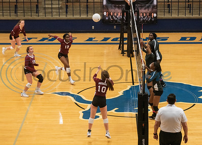 Whitehouse volleyball player Ryann Foster (10) sets the ball for Briana Brown (12) in their game against John Tyler High School in Tyler on Tuesday Oct. 1, 2019.  (Sarah A. Miller/Tyler Morning Telegraph)