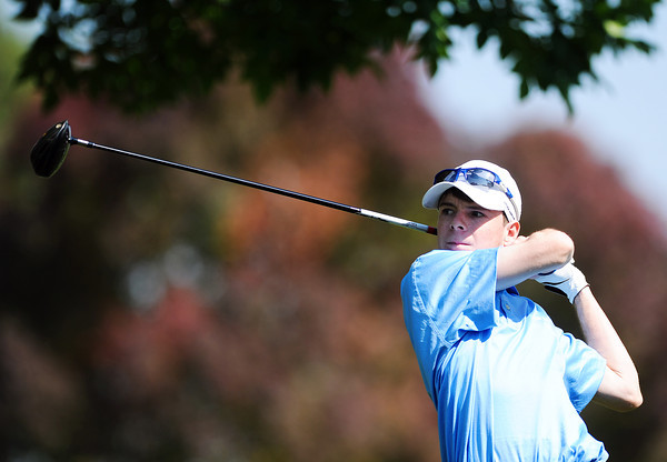 Peak to Peak High School's Jack Cavanagh tees off at the 10th hole during the 2012 CHSAA 3A State Championship held at Denver's Pinehurst Country Club on Monday, October 1, 2012. (Kira Horvath/Daily Camera)
