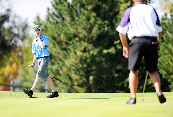 Peak to Peak High School's Jack Cavanagh reacts after narrowly missing his putt on the 10th hole during the 2012 CHSAA 3A State Championship held at Denver's Pinehurst Country Club on Monday, October 1, 2012. (Kira Horvath/Daily Camera)