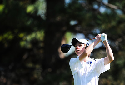 Alexander Dawson's Cole Folwell tees off at the 8th hole during the 2012 CHSAA 3A State Championship held at Denver's Pinehurst Country Club on Monday, October 1, 2012. (Kira Horvath/Daily Camera)